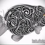 Эскиз тату золотая рыбка №544 - классный вариант рисунка, который легко можно использовать для преобразования и нанесения как тату рыбки графика