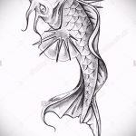 Эскиз тату золотая рыбка №603 - достойный вариант рисунка, который успешно можно использовать для доработки и нанесения как тату золотая рыбка на шее