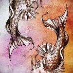 Эскиз тату золотая рыбка №262 - крутой вариант рисунка, который успешно можно использовать для переделки и нанесения как тату золотая рыбка на руке