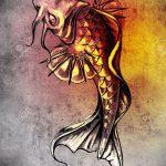 Эскиз тату золотая рыбка №498 - прикольный вариант рисунка, который удачно можно использовать для преобразования и нанесения как тату рыбки для девушек