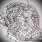Эскиз тату золотая рыбка №906 - интересный вариант рисунка, который успешно можно использовать для переработки и нанесения как тату золотая рыбка на руке