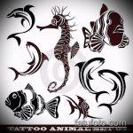 Эскиз тату золотая рыбка №956 - прикольный вариант рисунка, который легко можно использовать для переделки и нанесения как тату золотая рыбка на ноге