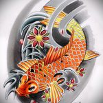 Эскиз тату золотая рыбка №578 - крутой вариант рисунка, который успешно можно использовать для доработки и нанесения как тату золотая рыбка на шее