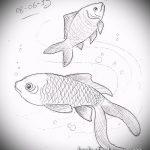 Эскиз тату золотая рыбка №97 - достойный вариант рисунка, который хорошо можно использовать для переделки и нанесения как тату рыбки знак зодиака