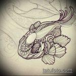 Эскиз тату золотая рыбка №488 - достойный вариант рисунка, который хорошо можно использовать для доработки и нанесения как тату рыбки для девушек