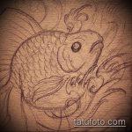 Эскиз тату золотая рыбка №728 - эксклюзивный вариант рисунка, который успешно можно использовать для переработки и нанесения как тату рыбки кои