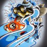 Эскиз тату золотая рыбка №492 - достойный вариант рисунка, который удачно можно использовать для преобразования и нанесения как тату золотая рыбка маленькая