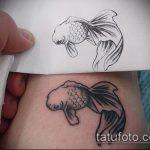 Эскиз тату золотая рыбка №760 - прикольный вариант рисунка, который успешно можно использовать для преобразования и нанесения как тату золотая рыбка акварель