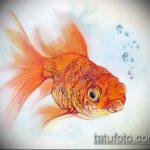 Эскиз тату золотая рыбка №407 - эксклюзивный вариант рисунка, который успешно можно использовать для преобразования и нанесения как тату золотая рыбка на спине