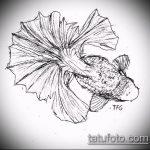 Эскиз тату золотая рыбка №319 - эксклюзивный вариант рисунка, который хорошо можно использовать для переделки и нанесения как тату рыбки знак зодиака
