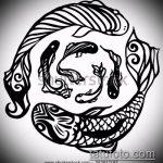 Эскиз тату золотая рыбка №969 - классный вариант рисунка, который хорошо можно использовать для переделки и нанесения как тату рыбки графика