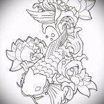 Эскиз тату золотая рыбка №788 - крутой вариант рисунка, который хорошо можно использовать для переработки и нанесения как тату золотая рыбка на шее