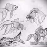 Эскиз тату золотая рыбка №459 - классный вариант рисунка, который хорошо можно использовать для преобразования и нанесения как тату золотая рыбка маленькая