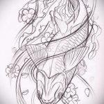 Эскиз тату золотая рыбка №653 - крутой вариант рисунка, который хорошо можно использовать для доработки и нанесения как тату золотая рыбка в короне