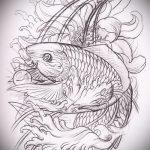 Эскиз тату золотая рыбка №284 - прикольный вариант рисунка, который удачно можно использовать для переделки и нанесения как тату золотая рыбка акварель