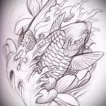 Эскиз тату золотая рыбка №836 - интересный вариант рисунка, который успешно можно использовать для переработки и нанесения как тату золотая рыбка в короне