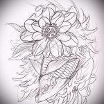 Эскиз тату золотая рыбка №955 - прикольный вариант рисунка, который успешно можно использовать для переделки и нанесения как тату рыбки графика