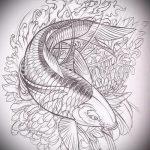Эскиз тату золотая рыбка №984 - достойный вариант рисунка, который легко можно использовать для переделки и нанесения как тату золотая рыбка на руке