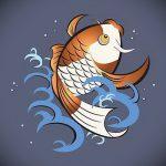 Эскиз тату золотая рыбка №855 - прикольный вариант рисунка, который легко можно использовать для переработки и нанесения как тату золотая рыбка маленькая