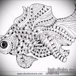 Эскиз тату золотая рыбка №642 - крутой вариант рисунка, который удачно можно использовать для переработки и нанесения как тату золотая рыбка маленькая