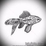 Эскиз тату золотая рыбка №657 - крутой вариант рисунка, который хорошо можно использовать для доработки и нанесения как тату золотая рыбка на спине