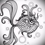 Эскиз тату золотая рыбка №281 - крутой вариант рисунка, который успешно можно использовать для переделки и нанесения как тату рыбки знак зодиака
