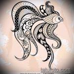 Эскиз тату золотая рыбка №454 - уникальный вариант рисунка, который хорошо можно использовать для переделки и нанесения как тату рыбки графика