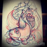 Эскиз тату золотая рыбка №537 - прикольный вариант рисунка, который удачно можно использовать для преобразования и нанесения как тату золотая рыбка акварель