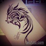 Эскиз тату золотая рыбка №548 - интересный вариант рисунка, который удачно можно использовать для переработки и нанесения как тату золотая рыбка на шее