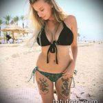 тату бикини №735 - достойный вариант рисунка, который легко можно использовать для переделки и нанесения как тату бикини надпись