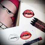 тату губы №882 - крутой вариант рисунка, который удачно можно использовать для доработки и нанесения как тату губы девушки