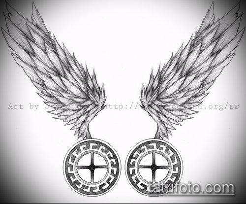 Фото тату крылья Гермеса - 06072017 - пример - 011 Tattoo wings of Hermes