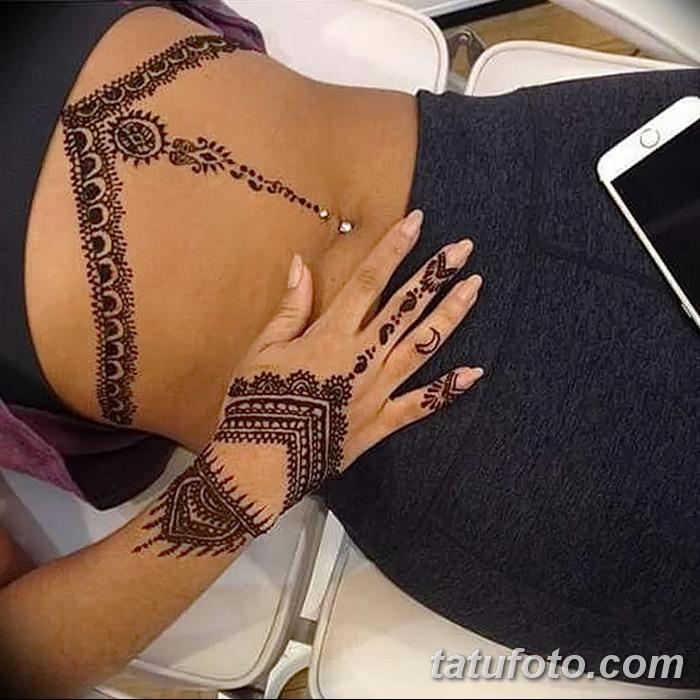фото рисунок хной под грудью от 29.07.2017 №027 - Drawing henna under the breast
