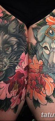 фото тату два волка от 19.08.2017 №025 – Tattoo two wolves_tatufoto.com