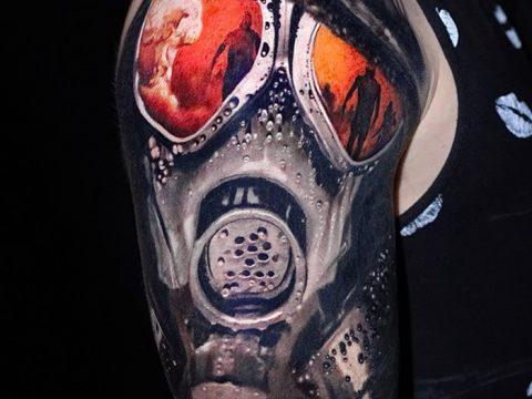 фото тату противогаз от 11.08.2017 №063 - Tattoo gas mask_tatufoto.com