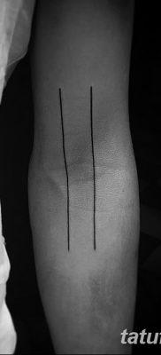фото тату прямая линия (полоса) от 11.08.2017 №033 – Straight line tattoo