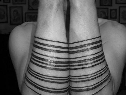 фото тату прямая линия (полоса) от 11.08.2017 №165 - Straight line tattoo