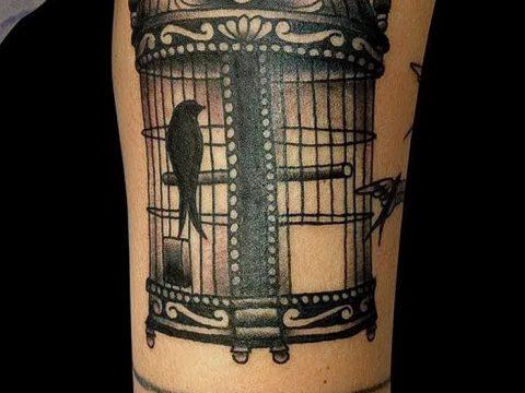фото тату птица и клетка от 16.08.2017 №145 - Tattoo bird and cage_tatufoto.com