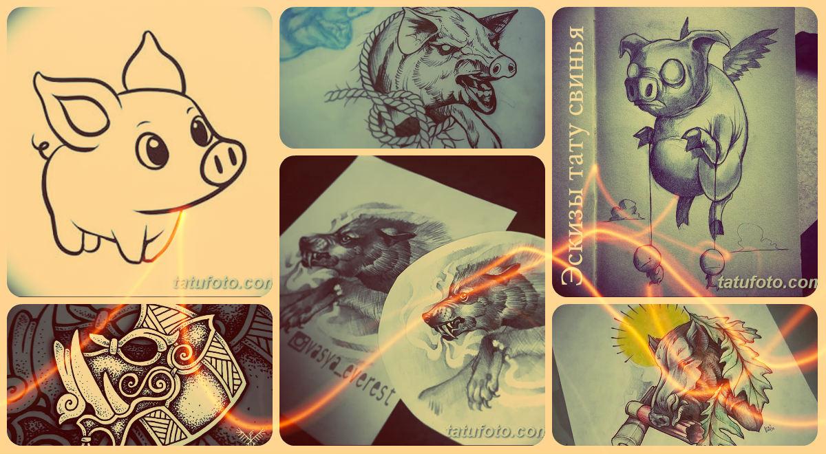 Эскизы тату свинья - картинки для татуировки со свиньей (кабаном)