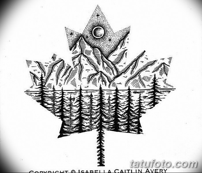 фото Эскизы тату клен от 29.09.2017 №053 - Sketches of tattoo maple - tatufoto.com