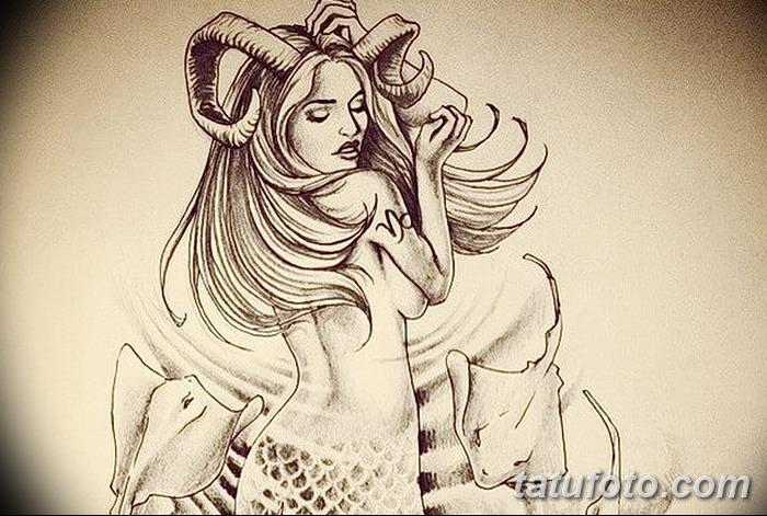 фото Эскизы тату козерог от 29.09.2017 №007 - Sketchesf a capricorn tattoo - tatufoto.com