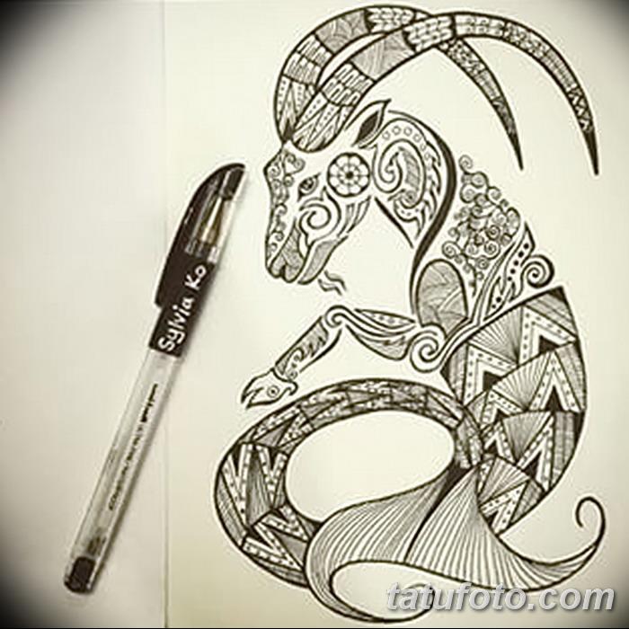 фото Эскизы тату козерог от 29.09.2017 №059 - Sketchesf a capricorn tattoo - tatufoto.com