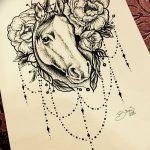 фото Эскизы тату конь от 29.09.2017 №069 - Sketches of a horse tattoo - tatufoto.com