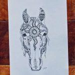 фото Эскизы тату конь от 29.09.2017 №074 - Sketches of a horse tattoo - tatufoto.com