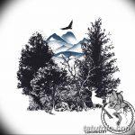 фото Эскизы тату лес от 29.09.2017 №002 - Sketches of a forest tattoo - tatufoto.com