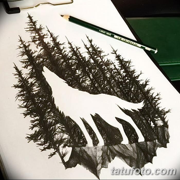 фото Эскизы тату лес от 29.09.2017 №017 - Sketches of a forest tattoo - tatufoto.com