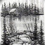 фото Эскизы тату лес от 29.09.2017 №037 - Sketches of a forest tattoo - tatufoto.com