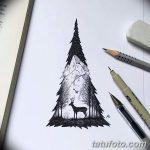 фото Эскизы тату лес от 29.09.2017 №047 - Sketches of a forest tattoo - tatufoto.com