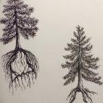 фото Эскизы тату лес от 29.09.2017 №095 - Sketches of a forest tattoo - tatufoto.com