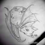 фото Эскизы тату летучая мышь от 27.09.2017 №009 - Sketches a bat tattoo - tatufoto.com
